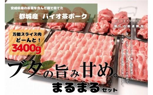 MK-3610_都城産「バイオ茶ポーク」ブタの旨み甘めまるまる3.4kgセット