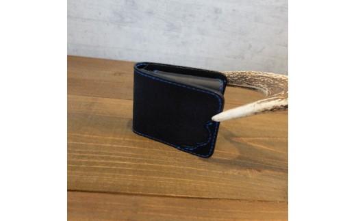 L008a 阿波レザー「RONIN」本藍染め 2つ折り財布