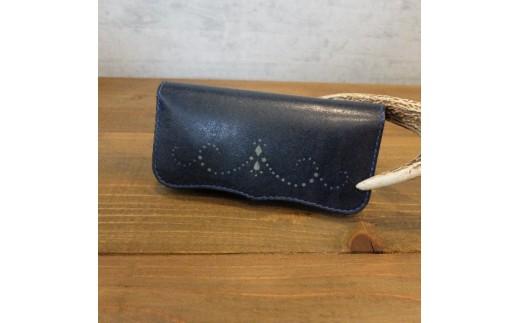 N001a 阿波レザー「RONIN」本藍染め 型染め縦長財布