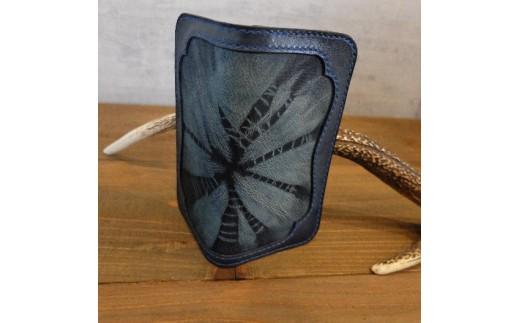 R001a 阿波レザー「RONIN」本藍絞り染め 縦長財布