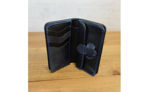 L007a 阿波レザー「RONIN」本藍染め ミドル財布