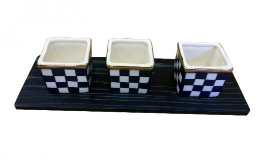 Aa019 藍染杉コースター・三種盛り 金縁市松(陶磁器)セット