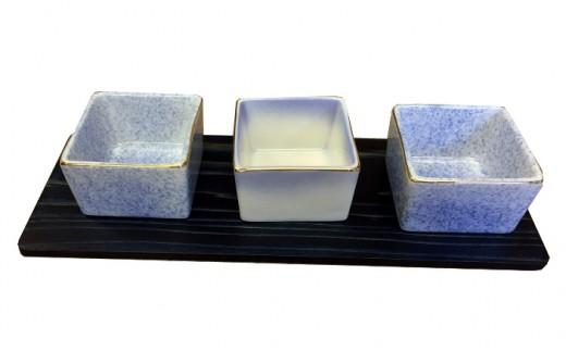 A054 藍染杉コースター・三種盛り コバルト(陶磁器)セット