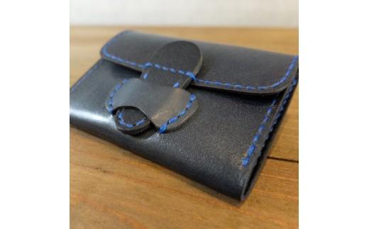 F008 阿波レザー「RONIN」本藍染め 小銭入れ