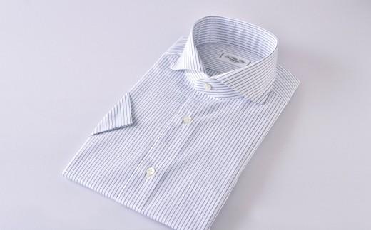 半袖カッタウェイ紺ST HITOYOSHIシャツ 紺色ストライプ