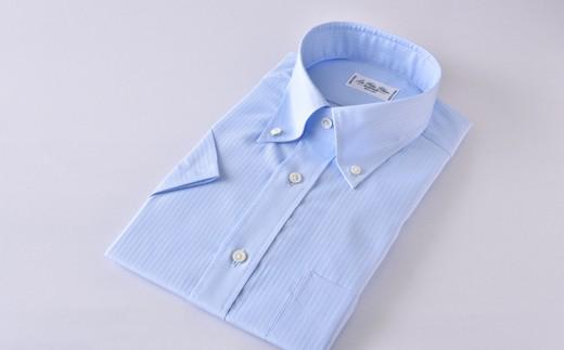 [№5636-0297]【限定】HITOYOSHI半袖シャツ紳士用ボタンダウン(ブルー)