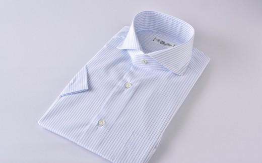 半袖カッタウェイ 水色ST HITOYOSHIシャツ 水色ストライプ