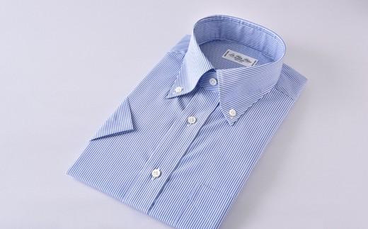 [№5636-0298]【限定】HITOYOSHI半袖シャツ紳士用ボタンダウン(ストライプ)
