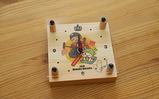 [No.5674-0335]木製置き時計(小)&夢の架け箸