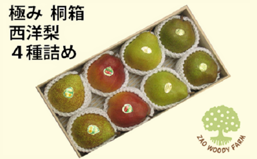 0062-126 西洋梨4種詰合せ 8玉【極み】桐箱入り
