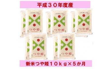 A044 新米でスタート!県産米つや姫10kg×5か月コース
