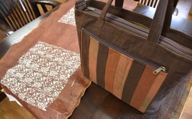【品切れ中】自然の布 はまさき工房「柿渋染バッグ」