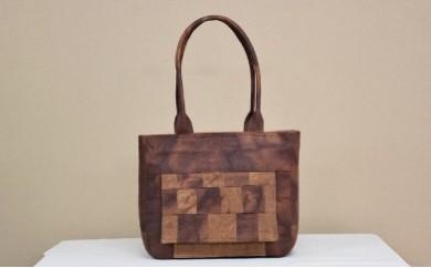 自然の布 はまさき工房「柿渋むら染紙布バッグ」