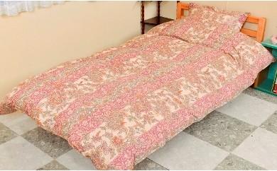 柄お任せ 超長綿生地ハンガリー産羽毛掛布団シングル ピンク系
