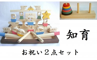 木のおもちゃ「コロポコ積木パズル(スーパー)&脳活ディスクパズル(6枚)」2点セット
