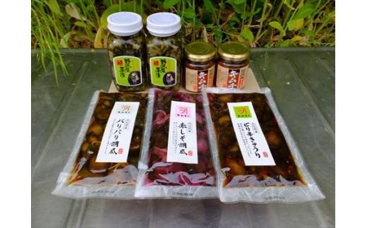 A011-01 岡本商店の野沢菜茶漬+キムチと北信州産胡瓜漬物3点