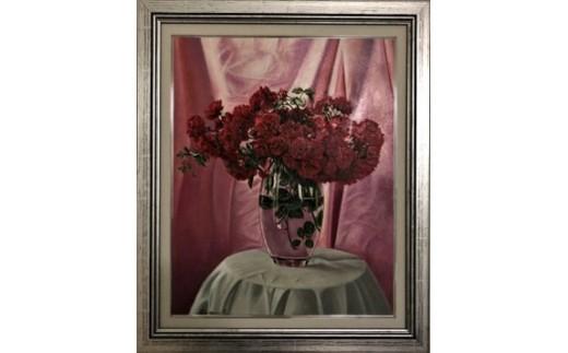 (1387)油絵「ガラスの中で輝く真紅のつる薔薇」