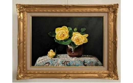 (1386)油絵「黄色い薔薇-No.Ⅱ-」