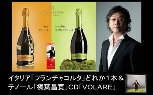 205 イタリアの高級スパークリングワイン・スプマンテ「フランチャコルタ」どれか、1本&テノール歌手「榛葉昌寛」CD