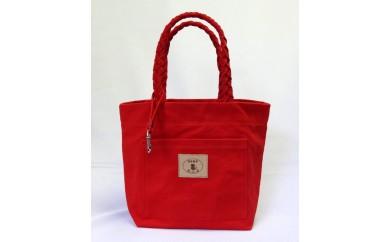 三つ編みの持ち手と猫ロゴが可愛いプチトート 赤 [尾道 帆布鞄 彩工房]