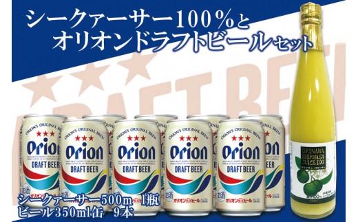 シークァーサー500ml瓶×オリオンドラフトビール350ml缶9本セット