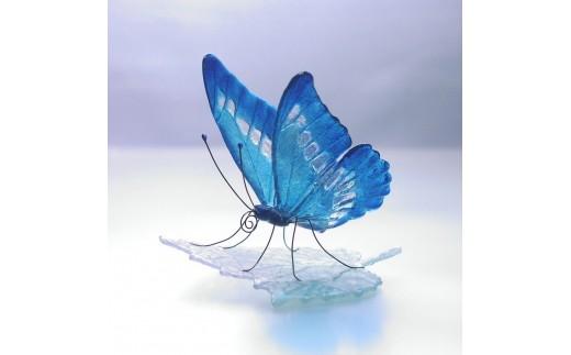 M0504ガラスの蝶 モルフォonリーフ