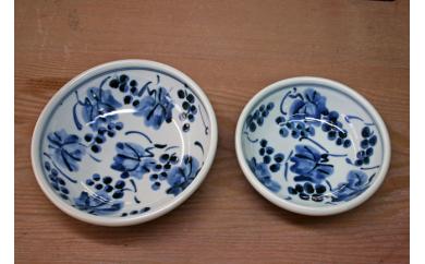 ★受付再開★藍山窯(あいざんがま) 五寸と六寸の葡萄絵鉢