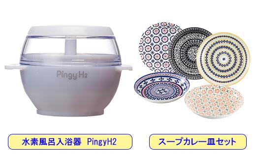 【85044】美容健康にお手軽高濃度水素風呂入浴器とカレー皿5枚セット