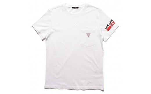 GUESS メンズ 半袖 トライアングル ロゴ ポケット Tシャツ 【ホワイト】 MI2K8504MI_0Y44