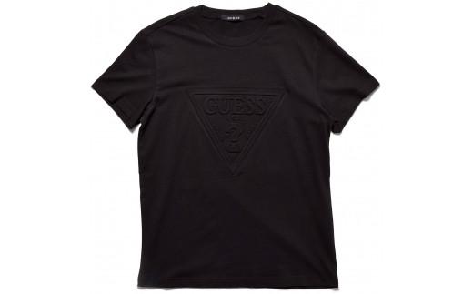 GUESS メンズ トライアングル ロゴ エンボス加工 半袖 Tシャツ 【ブラック】 MI2K8501MI_0Y35