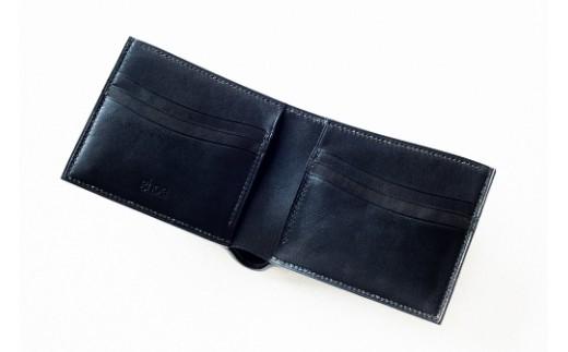 ZA001a 本藍染イタリアンレザーの折財布【本革・手縫い】