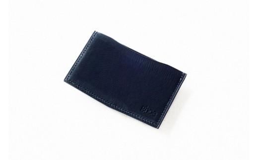 E008 本藍染イタリアンレザーの薄型名刺入れ【本革・手縫い】
