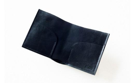 P001 本藍染イタリアンレザーの二折札入れ【本革・手縫い】