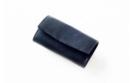 L005a 本藍染イタリアンレザーのキーケース【本革・手縫い】