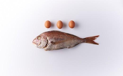 鯛のお腹の中に玉子が3個入っています