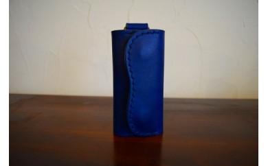 【高級牛革】手縫いキーケース(ブルー)