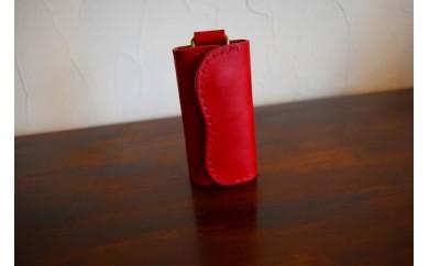 【高級牛革】手縫いキーケース(レッド)