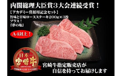 アカデミー賞パーティー採用記念!【宮崎牛ロースステーキ&夢の塩】G-205