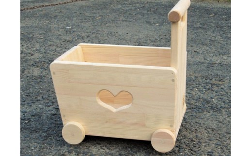 H210 手作り木製おもちゃも運べる手押し車(片面透かし)