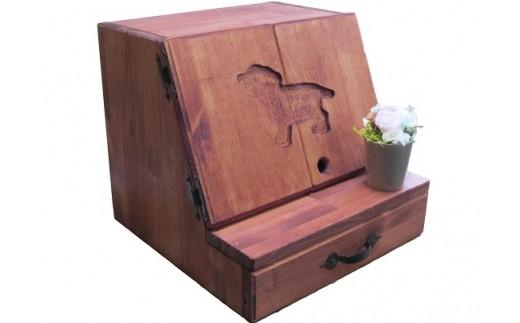 H216 手作り木製犬用仏壇「ペットメモリアル」とプリザのお花付き
