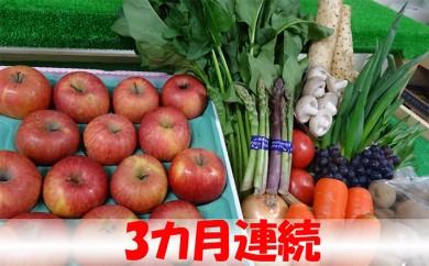[№5701-0197]【3ヶ月連続】津軽の野菜・果物セット8~12品程度