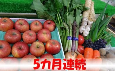 [№5701-0198]【5ヶ月連続】津軽の野菜・果物セット8~12品程度