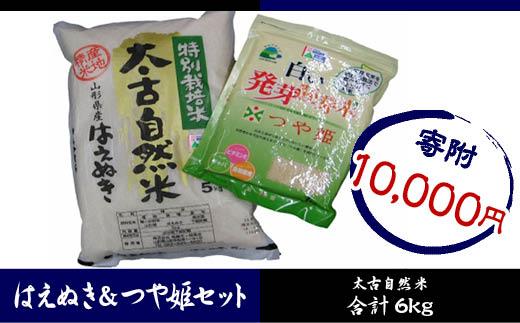 FY18-279 特別栽培米太古自然米はえぬき5kgつや姫発芽胚芽米1kg