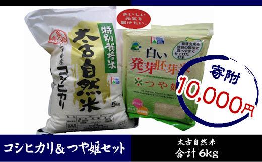FY18-277 特別栽培米太古自然米コシヒカリ5kgつや姫発芽胚芽米1kg