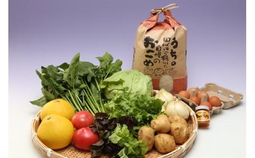 【B1-089】道の駅松浦海のふるさと館『旬のお野菜+産みたて濃厚玉子6個+お米5kg』の大満足セット!