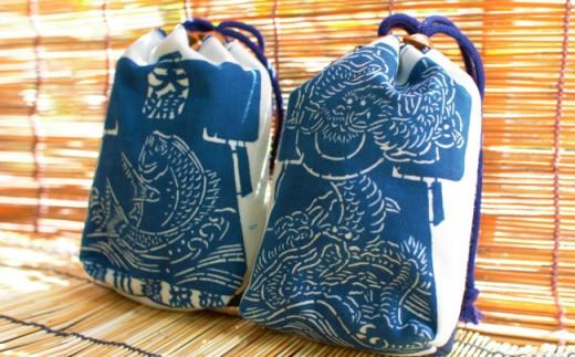 1-81 藍染巾着(龍柄)
