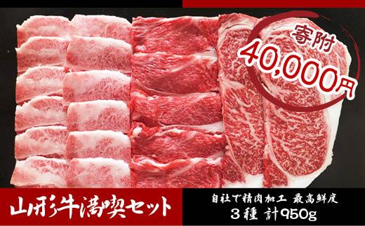 FY18-481 高橋畜産 山形牛満喫セット (3種) 950g