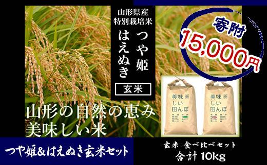 FY18-527 【山形県産2銘柄食べ比べ】 つや姫・はえぬき 玄米各5kg