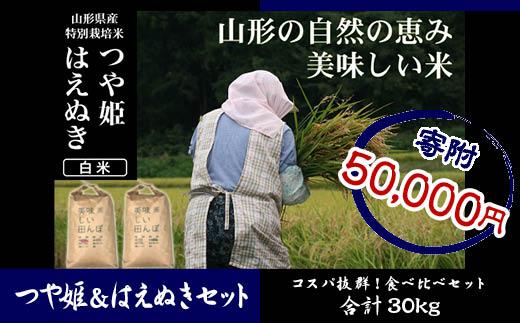 FY18-532 【山形県産2銘柄食べ比べ】 つや姫・はえぬき 白米各15kg