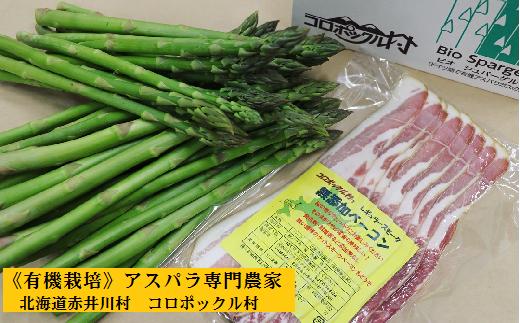 800北海道赤井川村 有機栽培夏採りアスパラ&無添加ベーコンセット